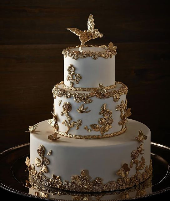 Gold Wedding Cakes  Gold Wedding White & Gold Wedding Cakes Weddbook