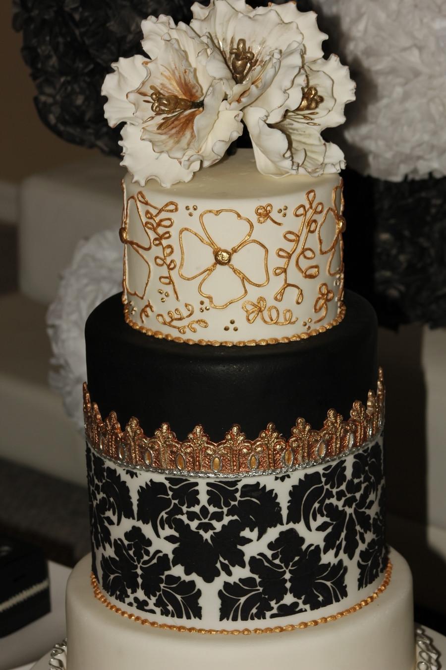 Gold Wedding Cakes  Wedding Cake Black&white Silver Gold CakeCentral