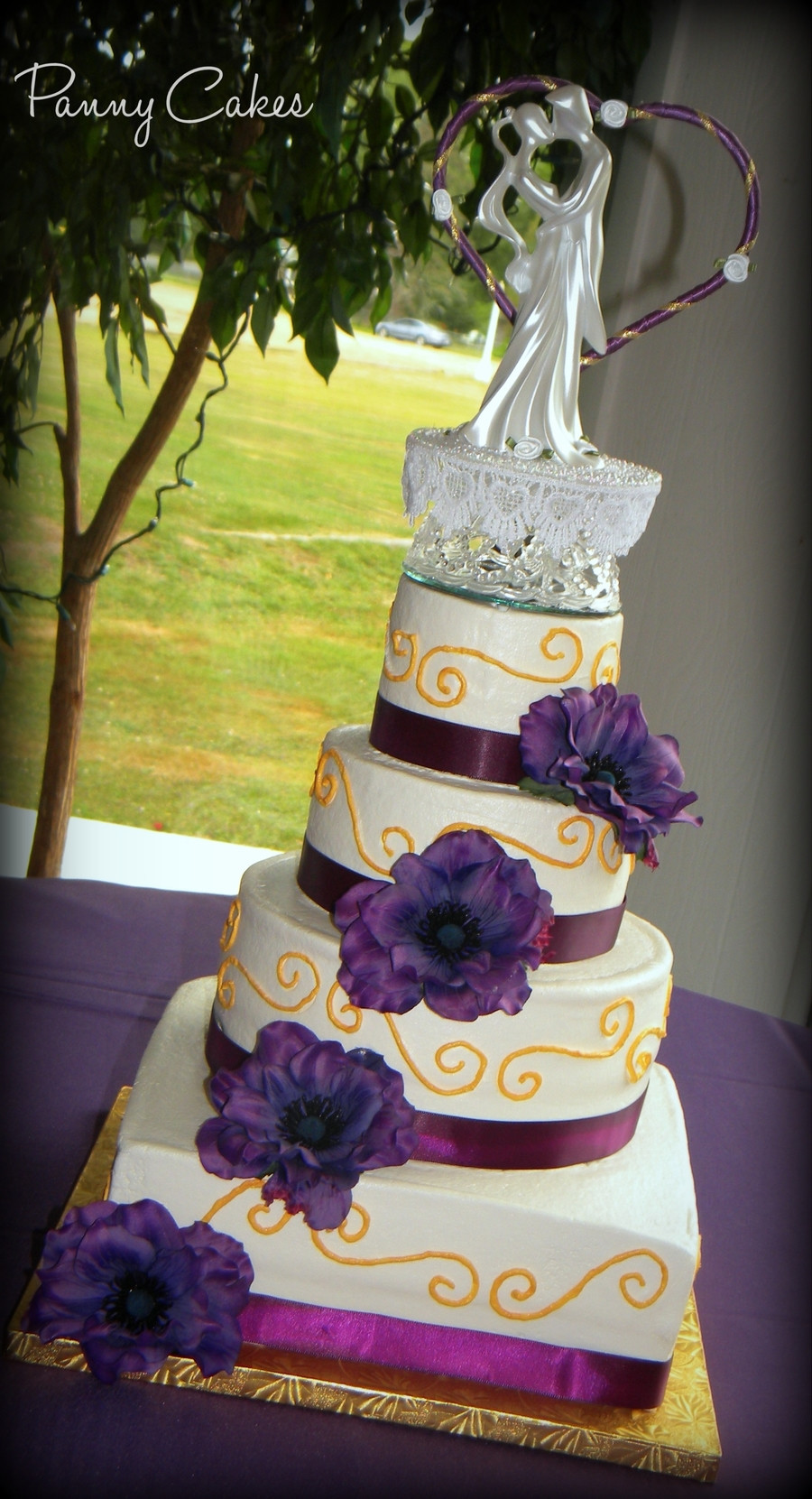 Gold Wedding Cakes  Purple & Gold Wedding Cake CakeCentral