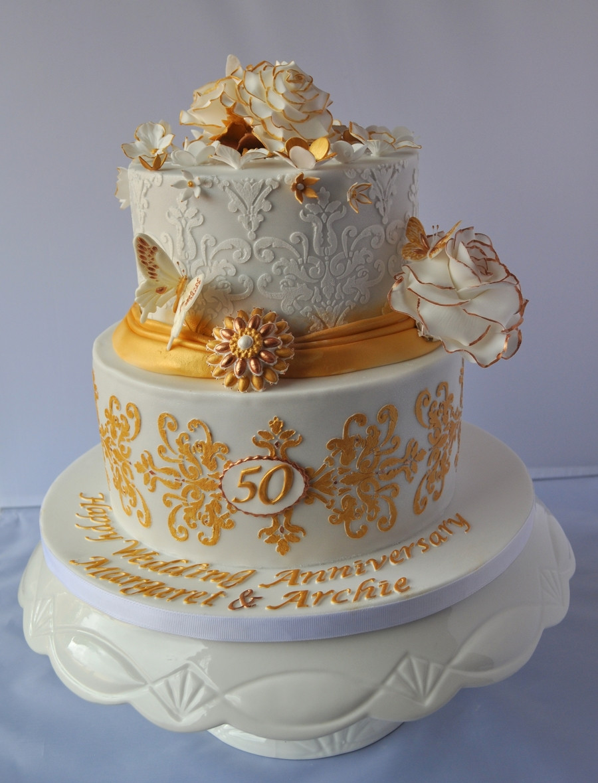 Golden Wedding Anniversary Cakes  Golden Wedding Anniversary Cake CakeCentral