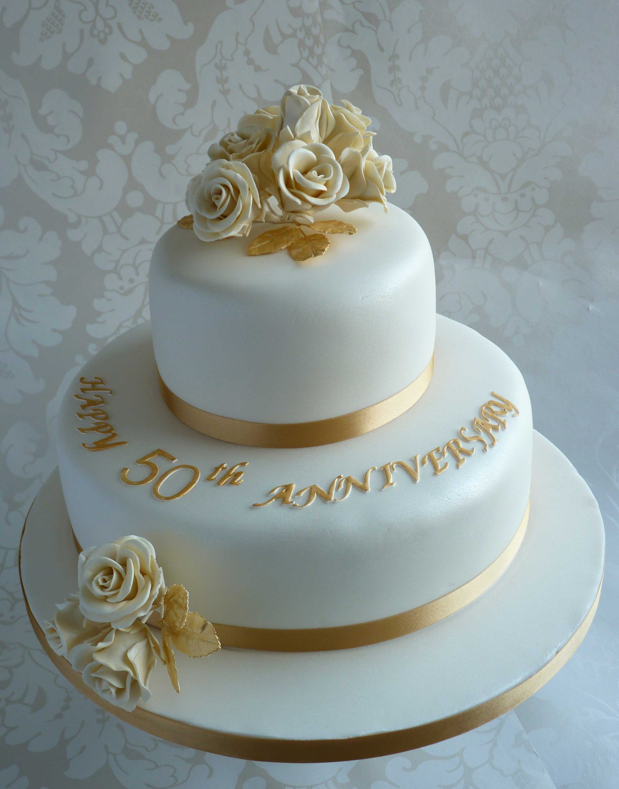 Golden Wedding Anniversary Cakes  Gold and Elegant 50th Anniversary Cake Decoration Idea