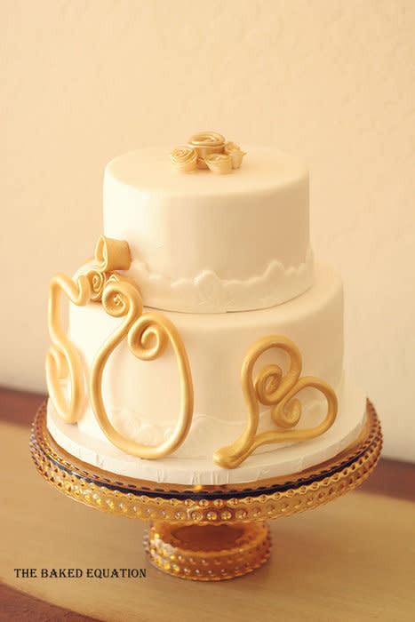 Golden Wedding Anniversary Cakes  50th Golden Wedding Anniversary Cake cake by Melissa