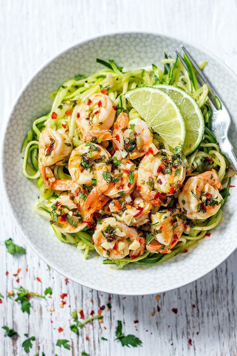 Good Healthy Dinners  Cilantro Lime Shrimp with Zucchini Noodles — Eatwell101