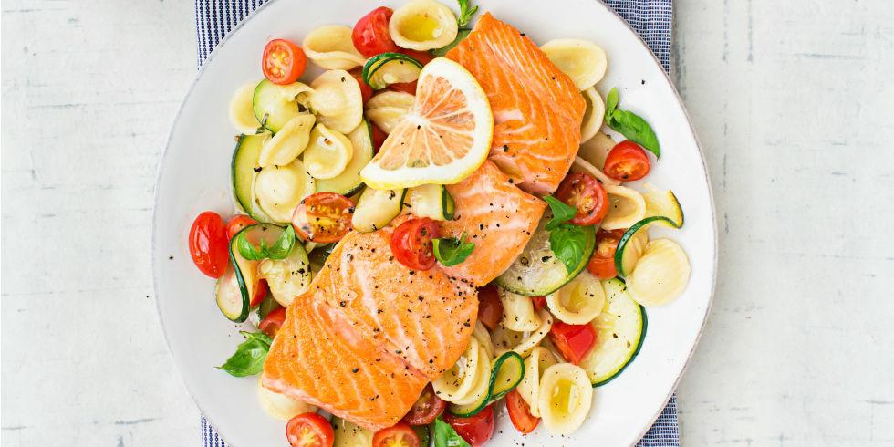 Good Summer Dinners  Warm Pasta Salad with Salmon Recipe