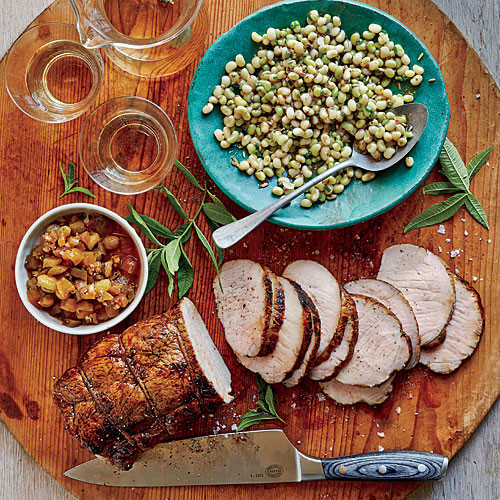 Good Summer Dinners  Roasted Cider Brined Pork Loin with Green Tomato Chutney