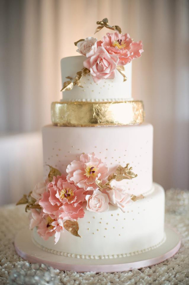 Gorgeous Wedding Cakes  12 Gorgeous Metallic Wedding Cakes Belle The Magazine