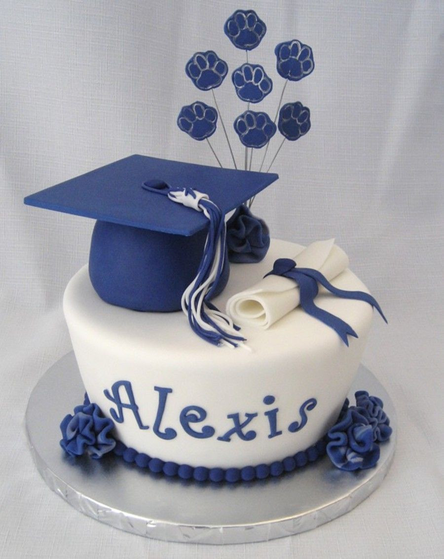 Graduation And Birthday Cake  High school graduation cake and cupcakes