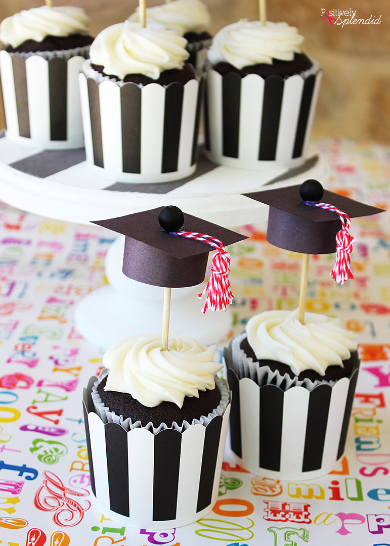 Graduation Cap Cupcakes  Graduation Cap Cupcake Toppers Easy and adorable DIY