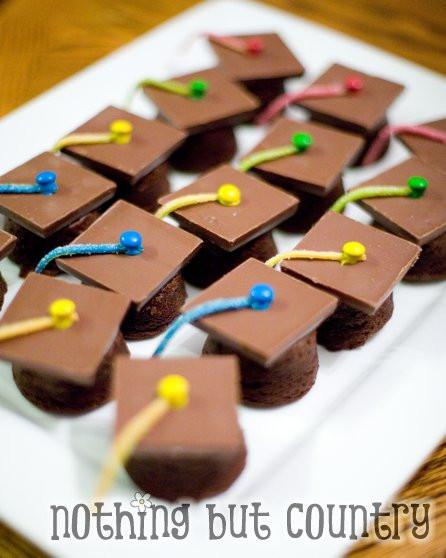 Graduation Cap Desserts  Graduation Cap Brownie Bites