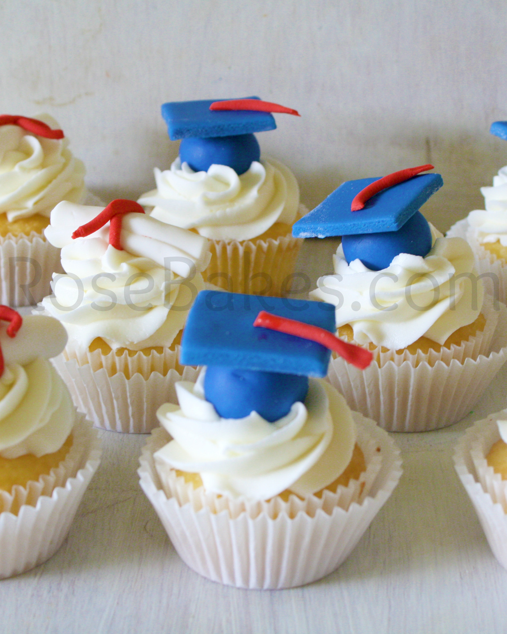 Graduation Cupcakes Decorating Ideas  How to Make Graduation Cap Cupcake Toppers Tutorial Rose