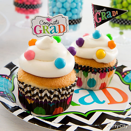 Graduation Cupcakes Ideas  Colorful Dot Graduation Cupcakes Idea Colorful