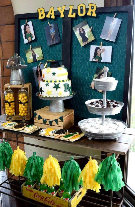Graduation Dessert Table  Baylor University Graduation End of School Party Ideas