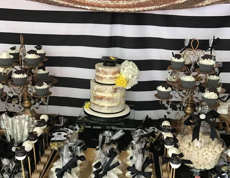 Graduation Dessert Table  Black White and Gold Graduation Graduation End of School