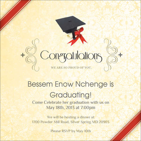Graduation Dinner Invitation  83 Free Invitation Cards PSD Word AI