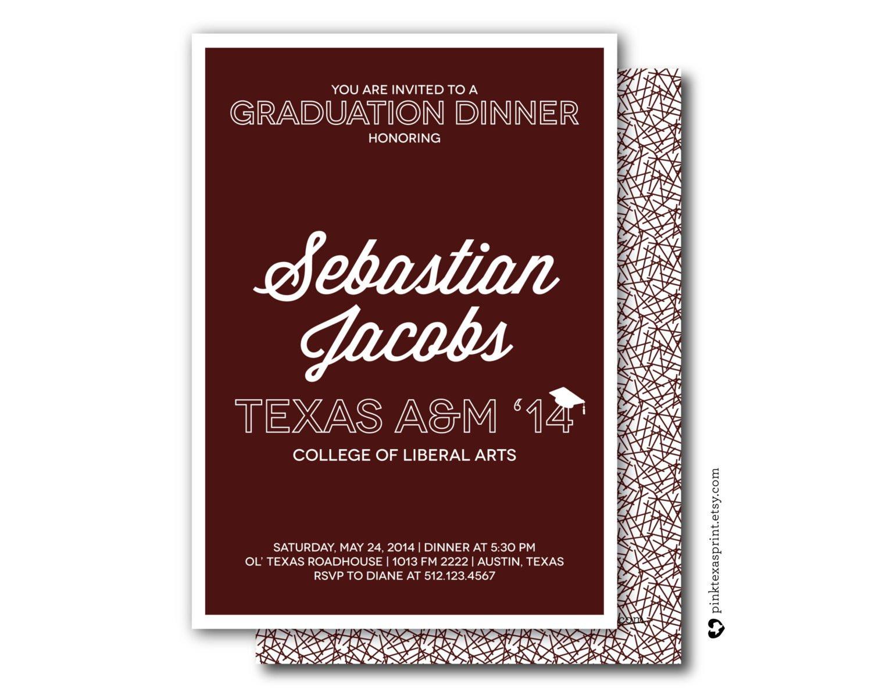 Graduation Dinner Invitations  Graduation Invitations Dinner Party Celebration by