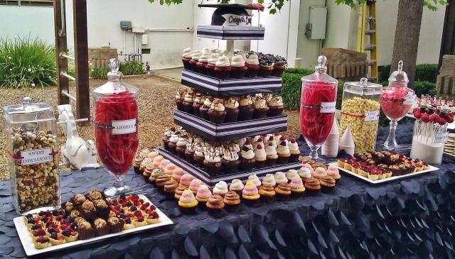 Graduation Party Desserts  Red and Black Sports Graduation Dessert Table
