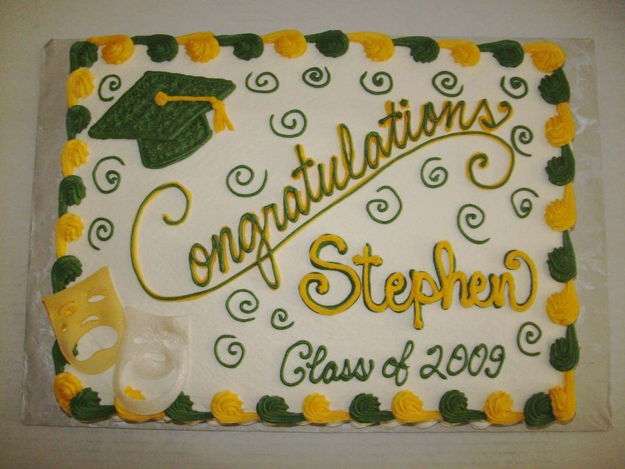 Graduation Sheet Cake Ideas  Green and Gold Graduation Cake buttercream icing