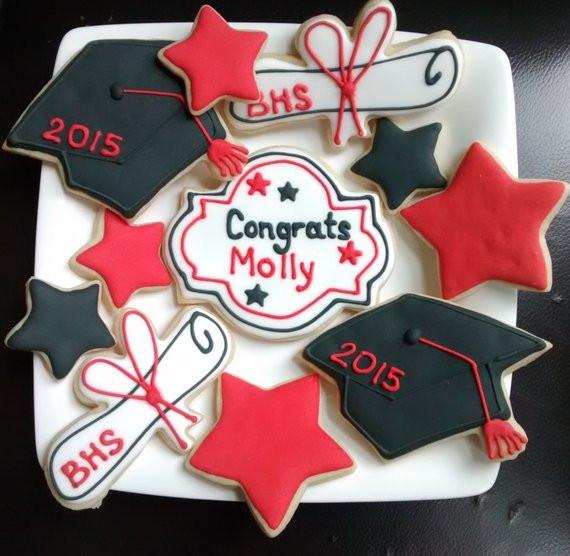 Graduation Sugar Cookies  Graduation hat diplomastars sugar cookies decorated with