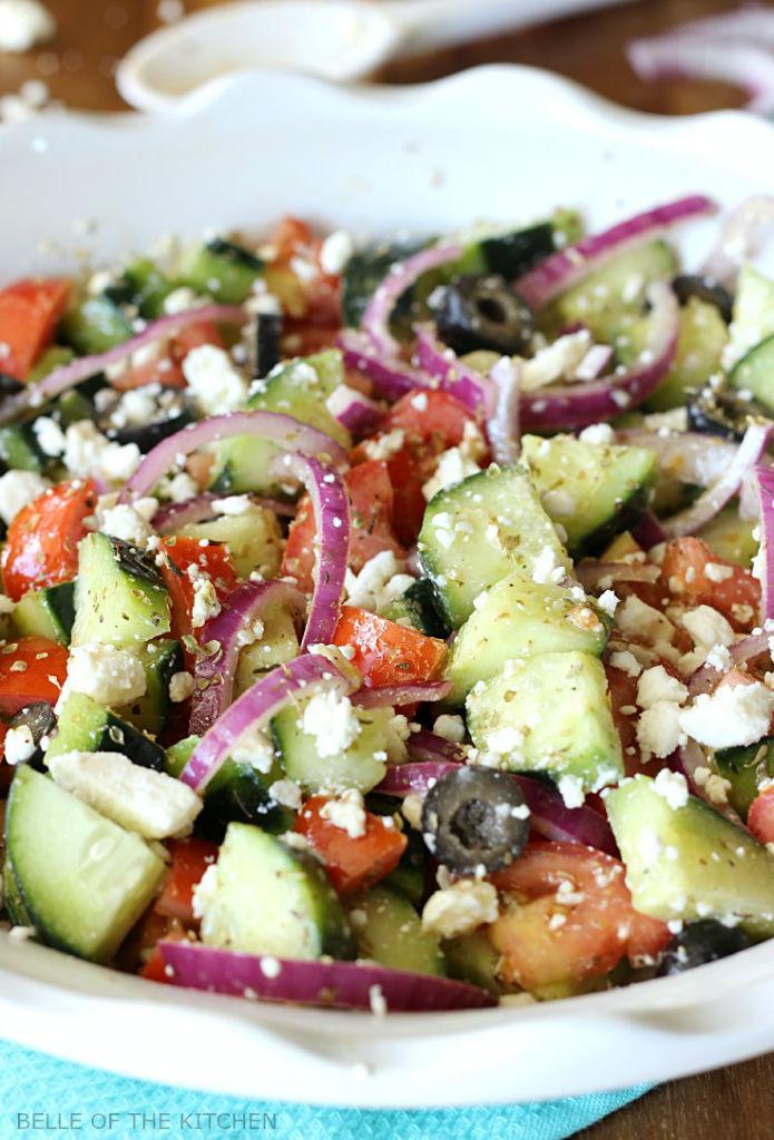 Greek Side Dishes Healthy  Cucumber Greek Salad Belle of the Kitchen