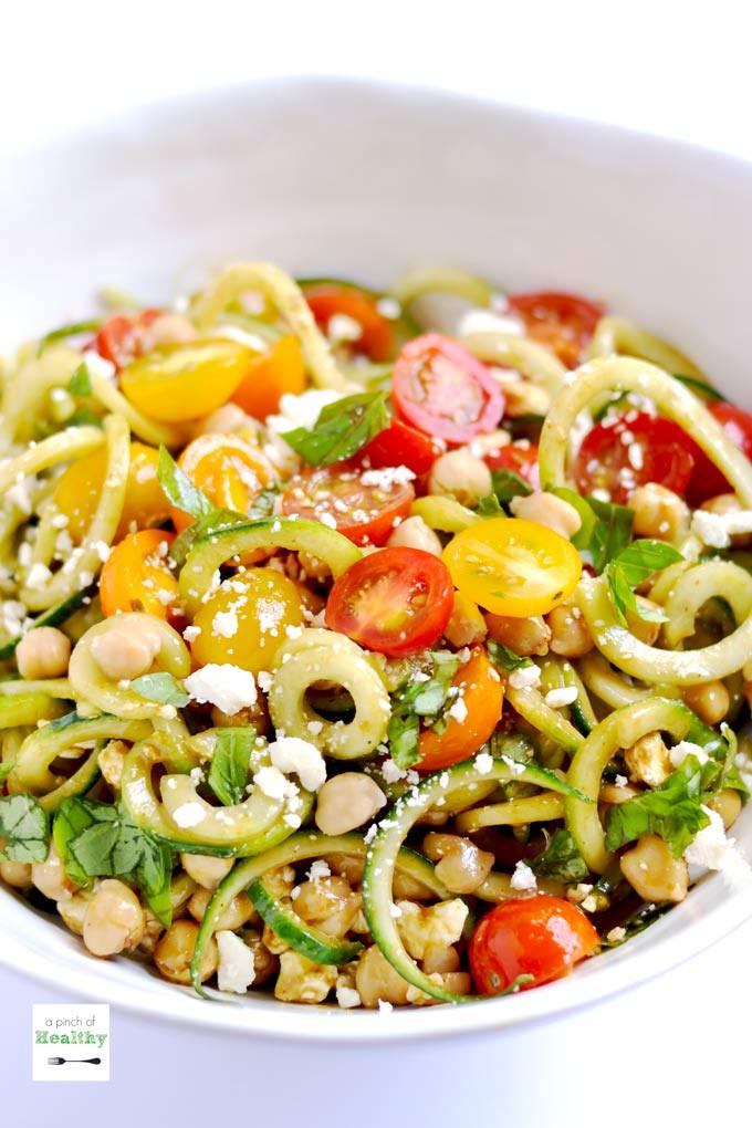 Greek Side Dishes Healthy  Spiralizer Greek Salad A Pinch of Healthy