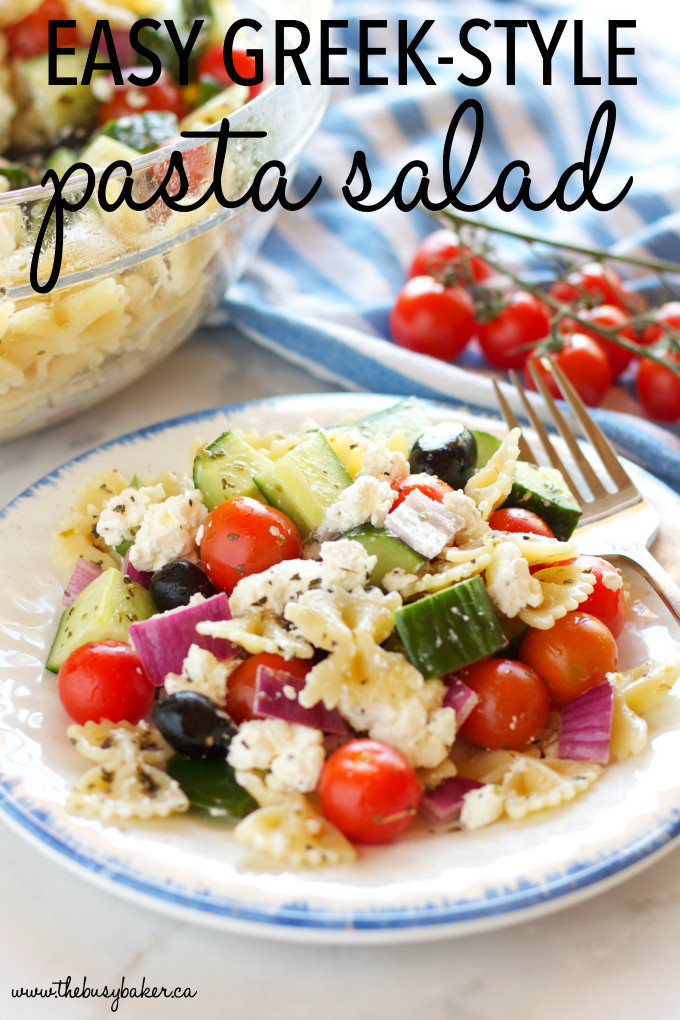 Greek Side Dishes Healthy  Quick and Easy Greek Pasta Salad The Busy Baker