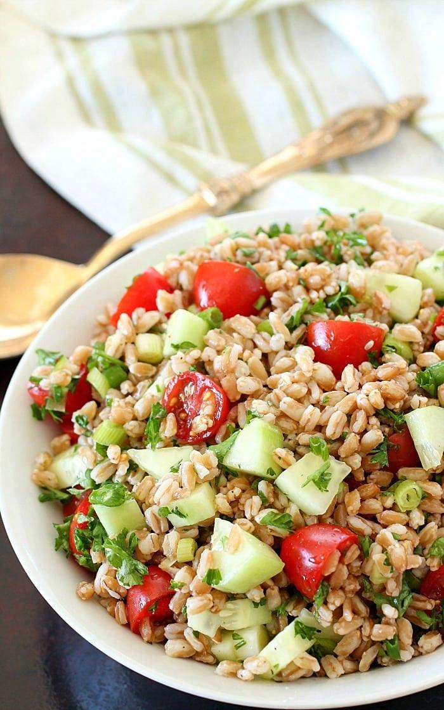 Greek Side Dishes Healthy  Easy Greek Farro Salad plus a Giveaway Yummy Healthy Easy