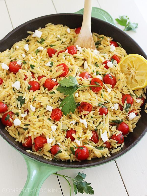 Greek Side Dishes Healthy  e Pan Greek Orzo with Tomatoes and Feta