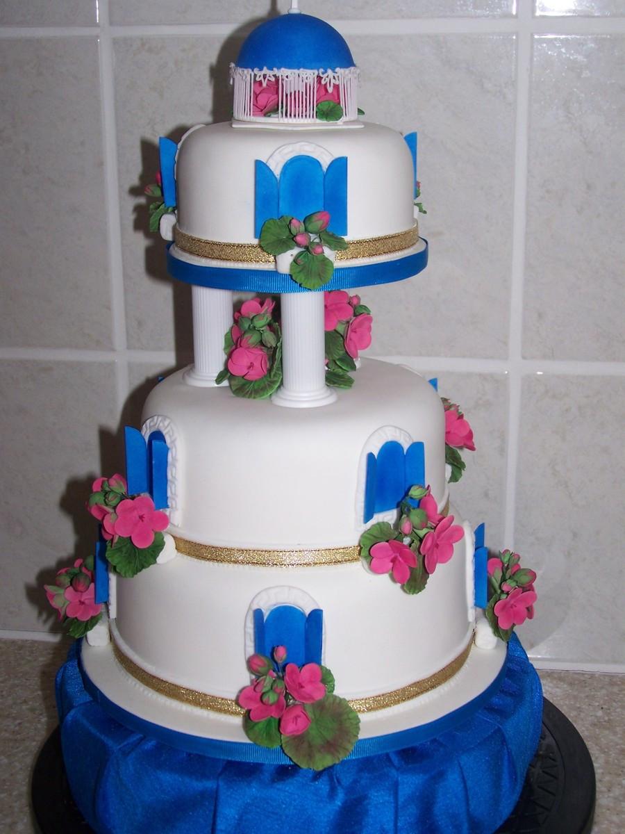 Greek Wedding Cakes  Blue Greek Themed Wedding CakeCentral