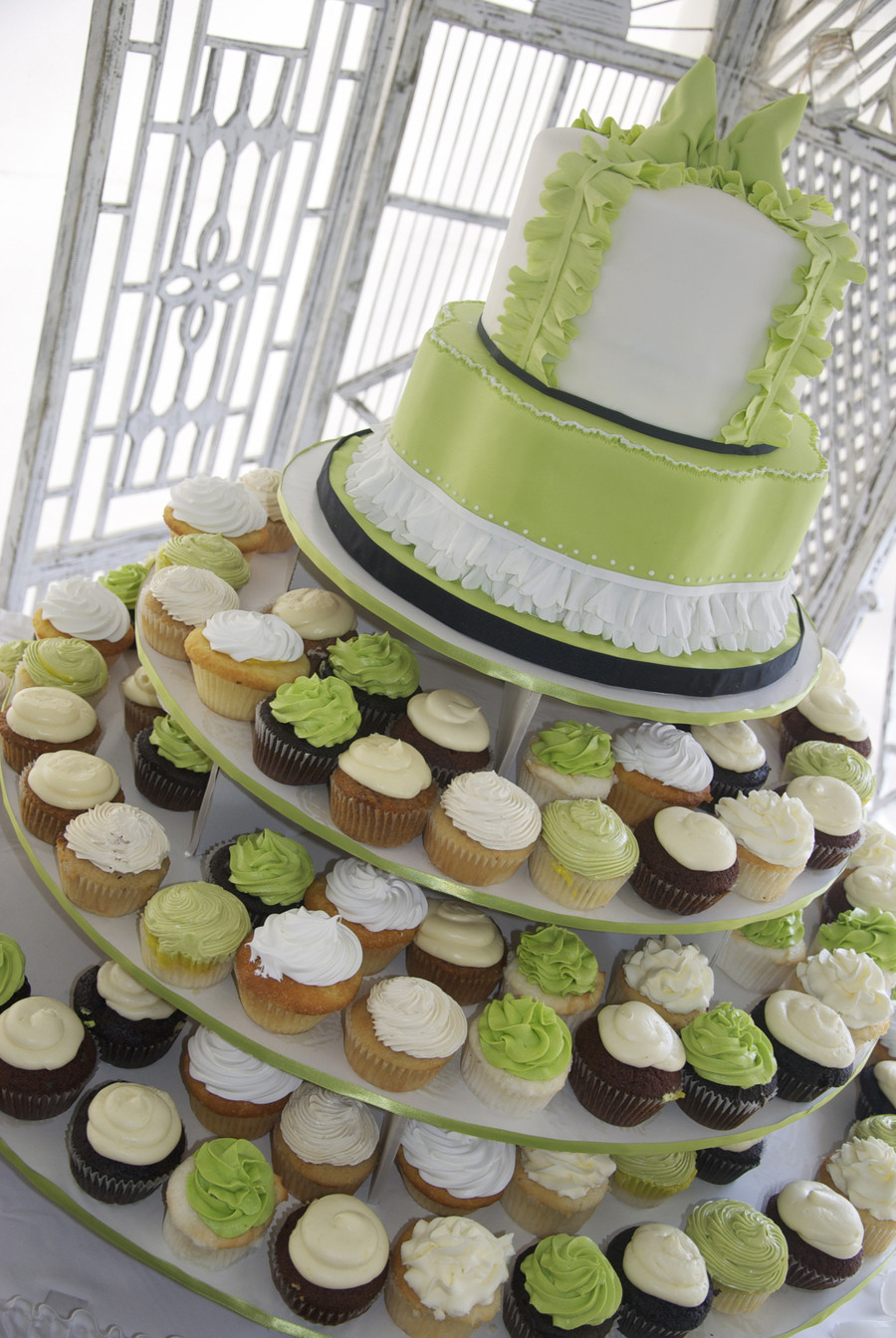 Green And White Wedding Cake  Apple Green And White Wedding Cake cupcake Tower