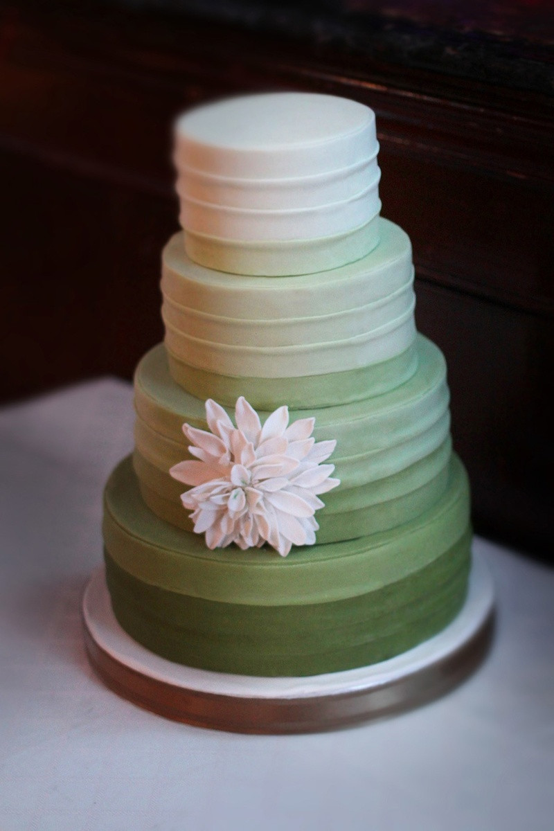 Green And White Wedding Cake  Cakes & Desserts s Ombré Green & White Wedding Cake