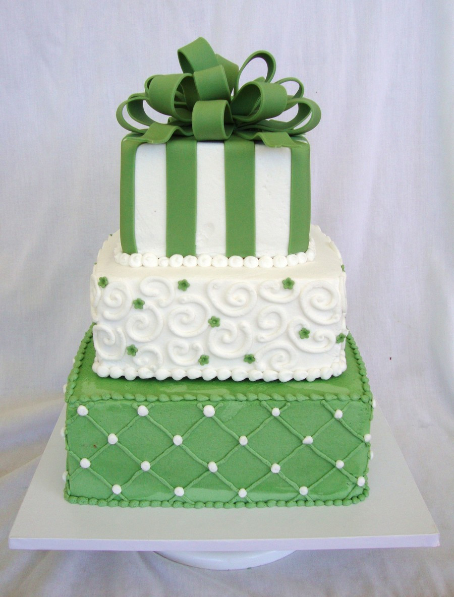 Green And White Wedding Cake  Fern Green & White Square Wedding Cake CakeCentral