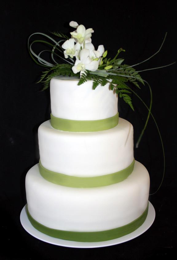 Green And White Wedding Cake  Wedding Cakes Round Wedding Cakes with Green Trim