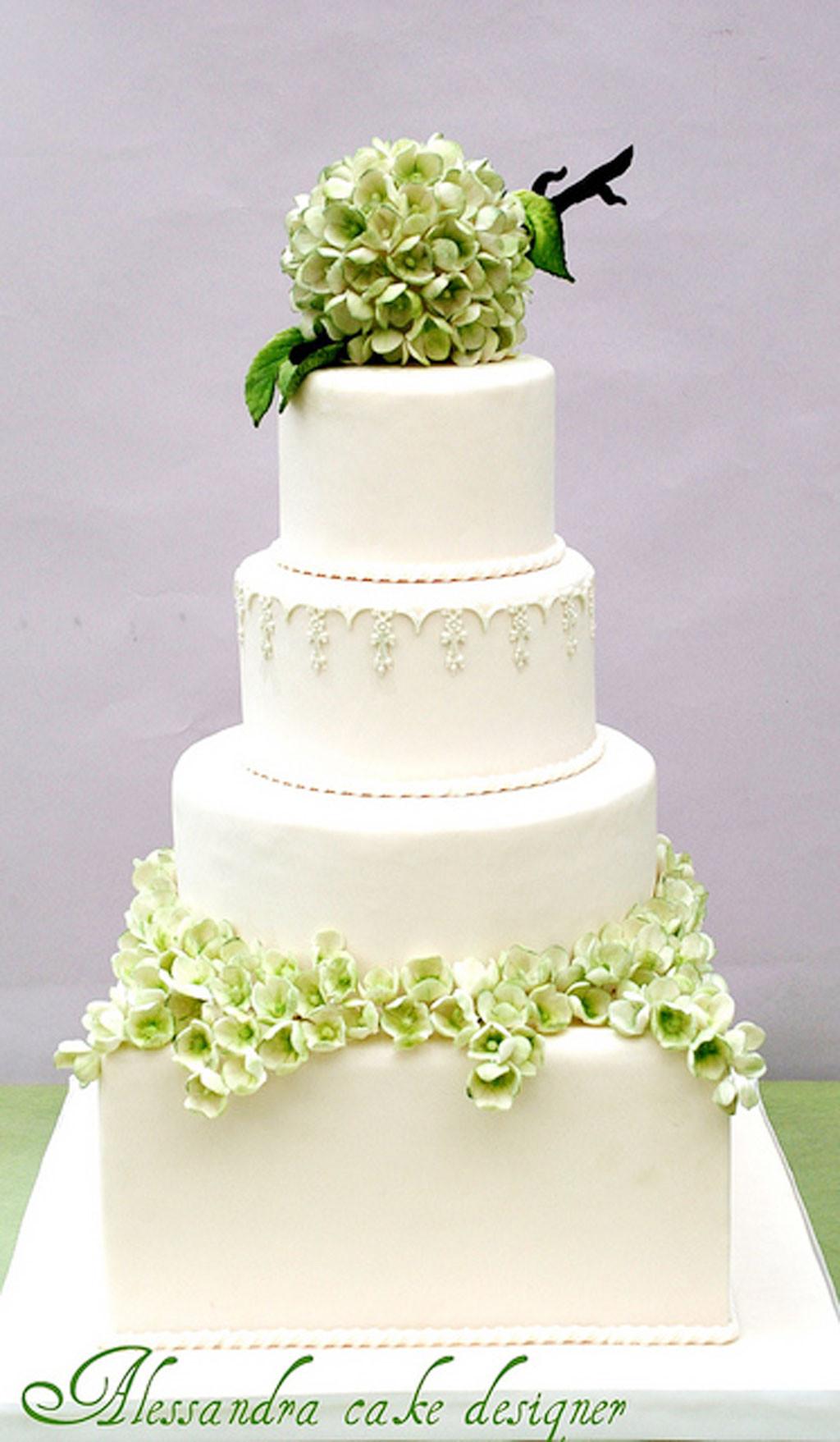 Green And White Wedding Cake  Green Modern Hydrangea Wedding Cake Wedding Cake Cake