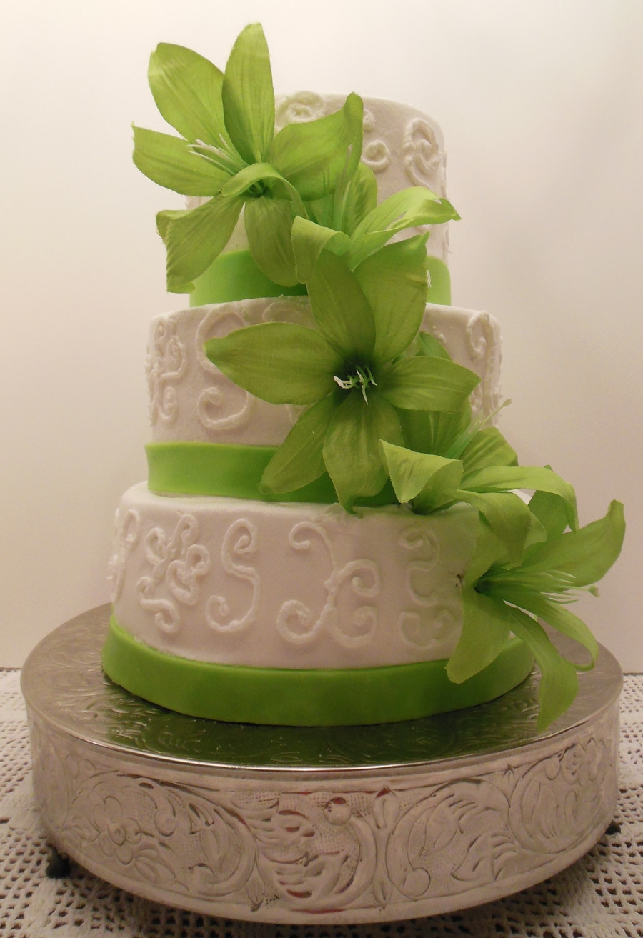Green And White Wedding Cake  Lime Green And White Wedding Cake CakeCentral