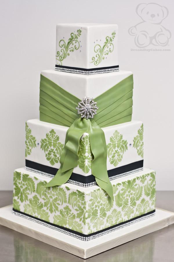 Green And White Wedding Cake  Lime Green Damask Wedding Cake