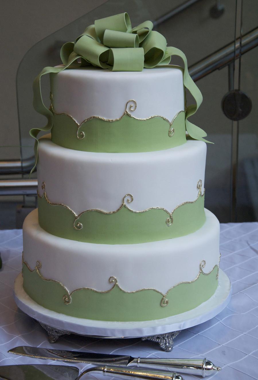 Green And White Wedding Cake  Elegant White Green Gold Wedding Cake CakeCentral