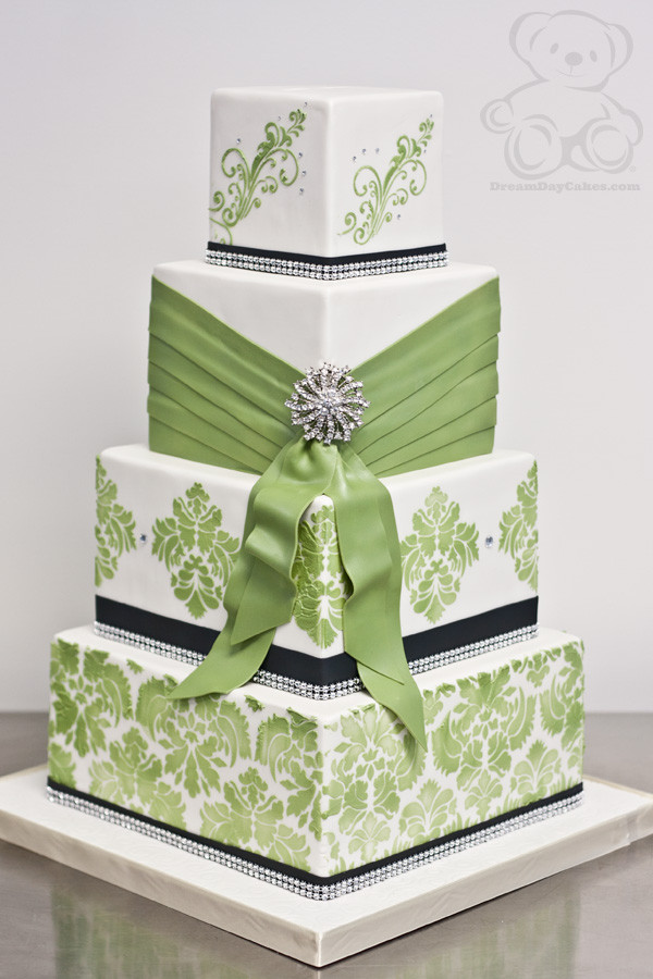 Green Wedding Cakes  Lime Green Damask Wedding Cake