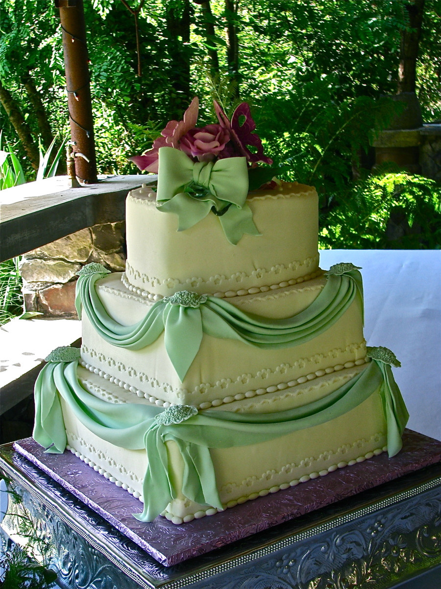 Green Wedding Cakes  Lavender And Mint Green Wedding Cake CakeCentral