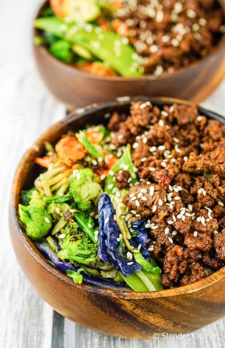 Ground Beef And Rice Recipes Healthy  Healthy Korean Ground Beef with Ve ables Slender Kitchen