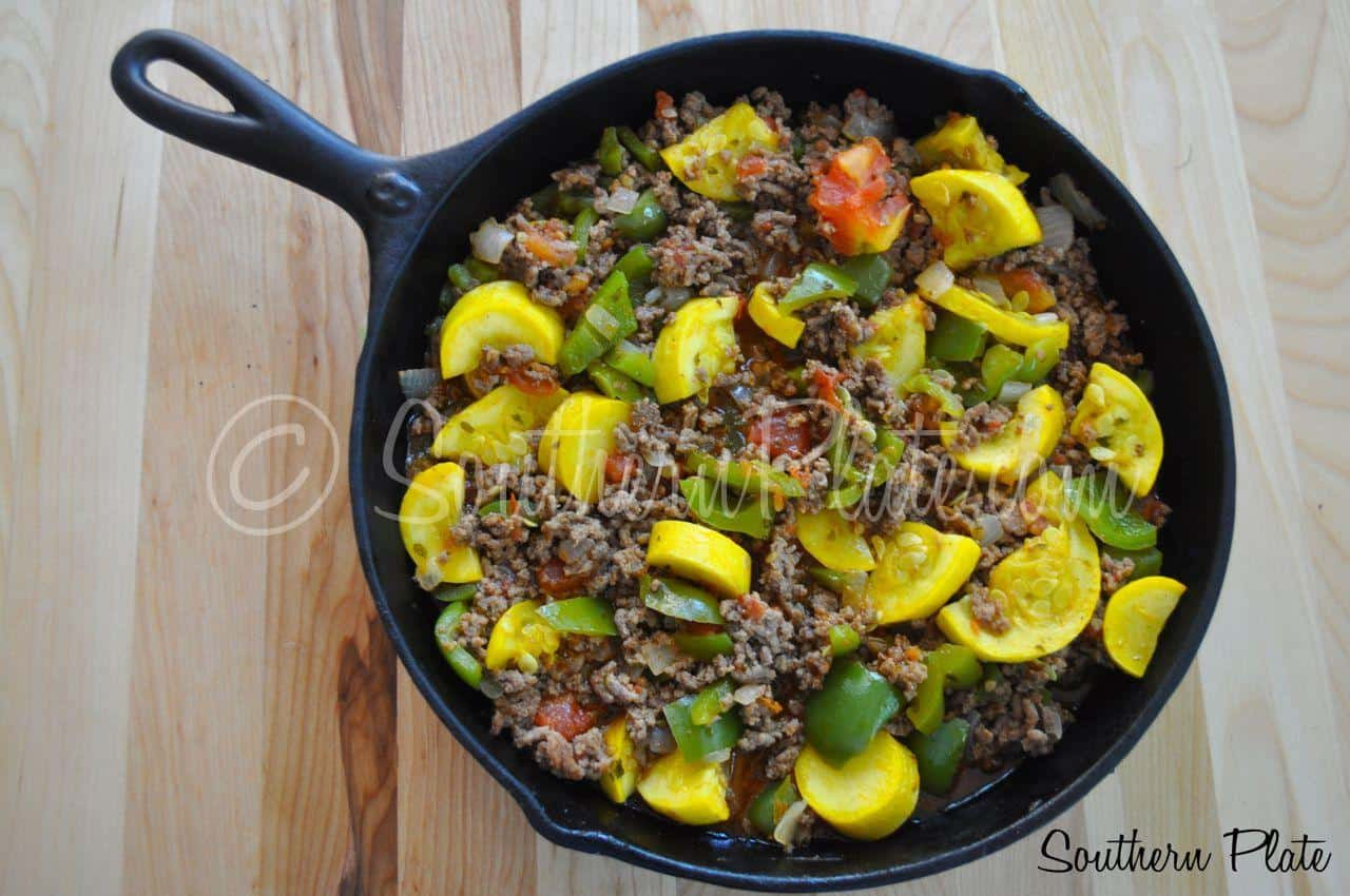 Ground Beef Summer Recipe  Garden Skillet Supper