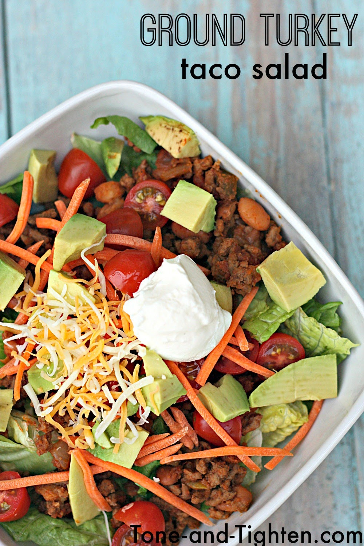 Ground Turkey Healthy  Healthy Ground Turkey Taco Salad Recipe