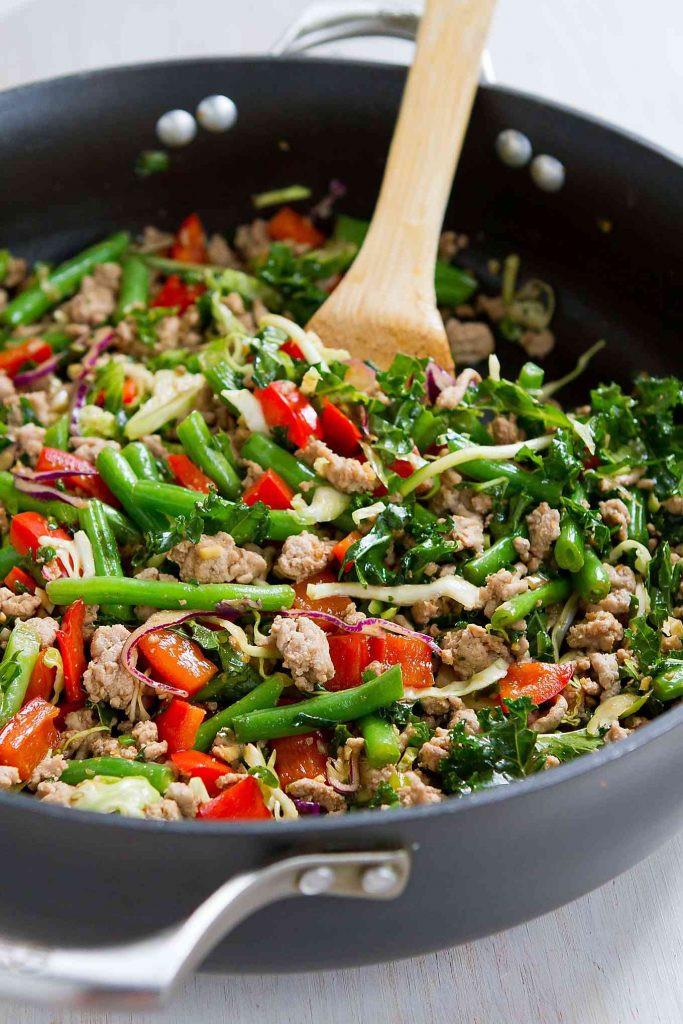 Ground Turkey Healthy Recipe  Ground Turkey Stir Fry with Greens Beans & Kale 20