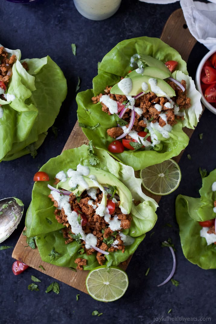 Ground Turkey Tacos Healthy  Ground Turkey Tacos in Lettuce Wraps with Cilantro Lime Crema