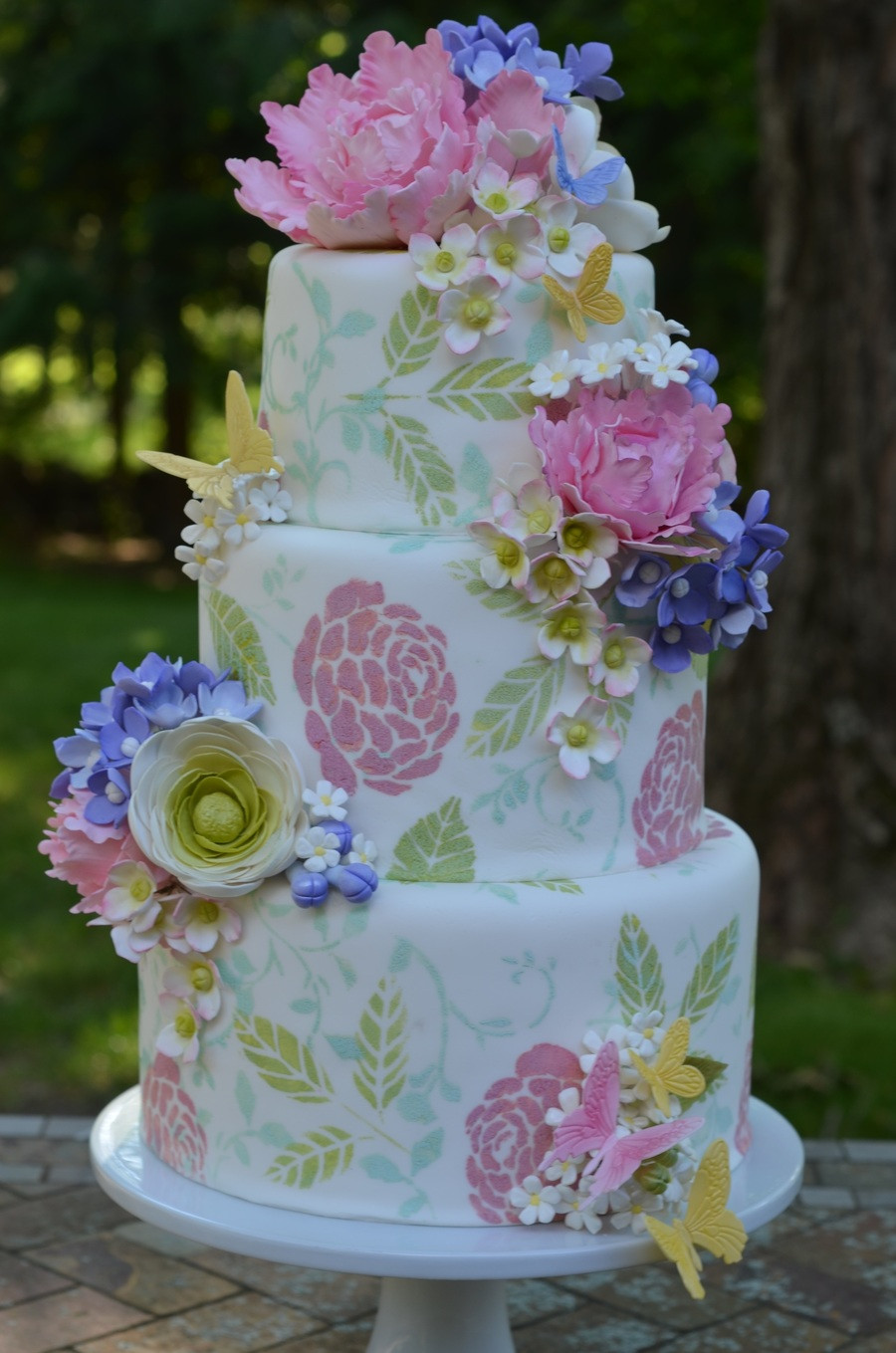 Gumpaste Flowers For Wedding Cakes  Garden Wedding Cake With Gumpaste Flowers CakeCentral