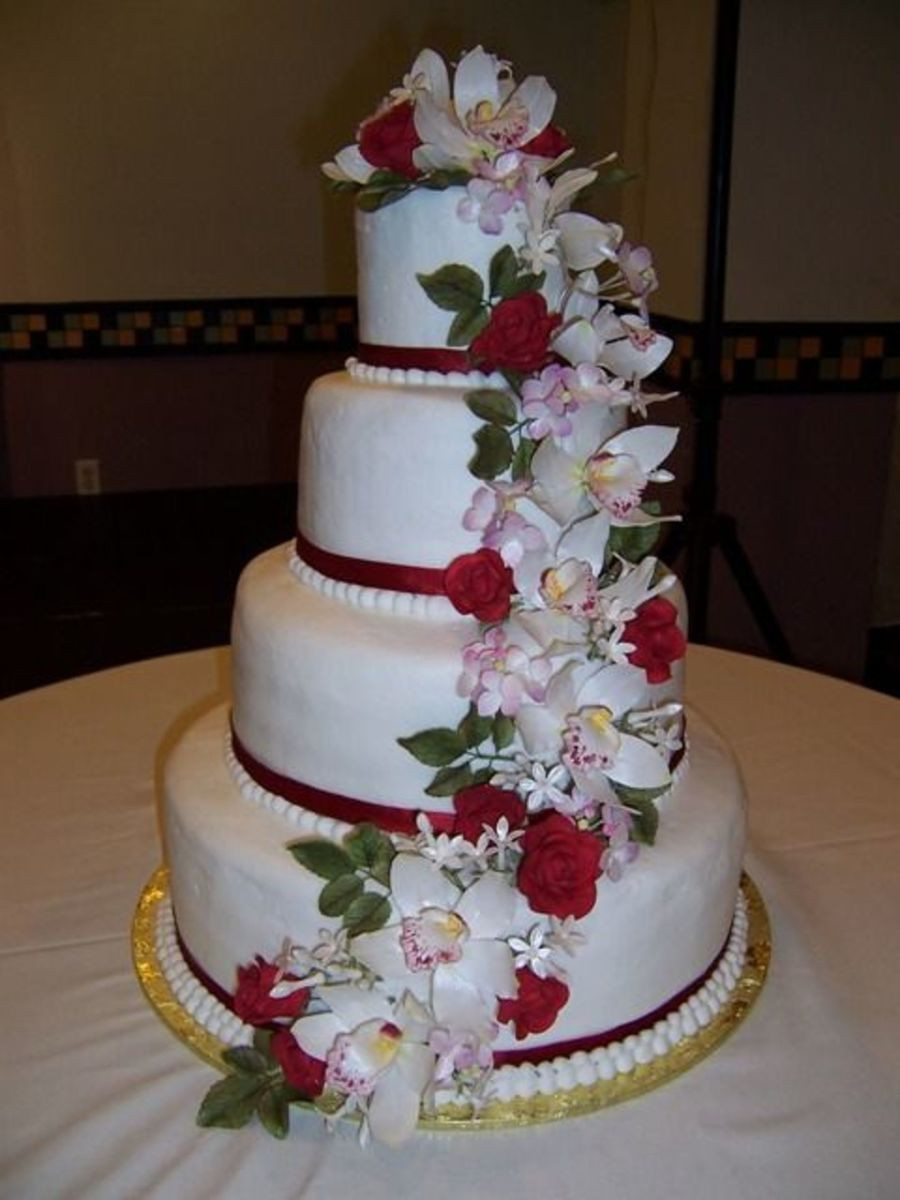 Gumpaste Flowers For Wedding Cakes  Cascading Gumpaste Flower Wedding Cake CakeCentral