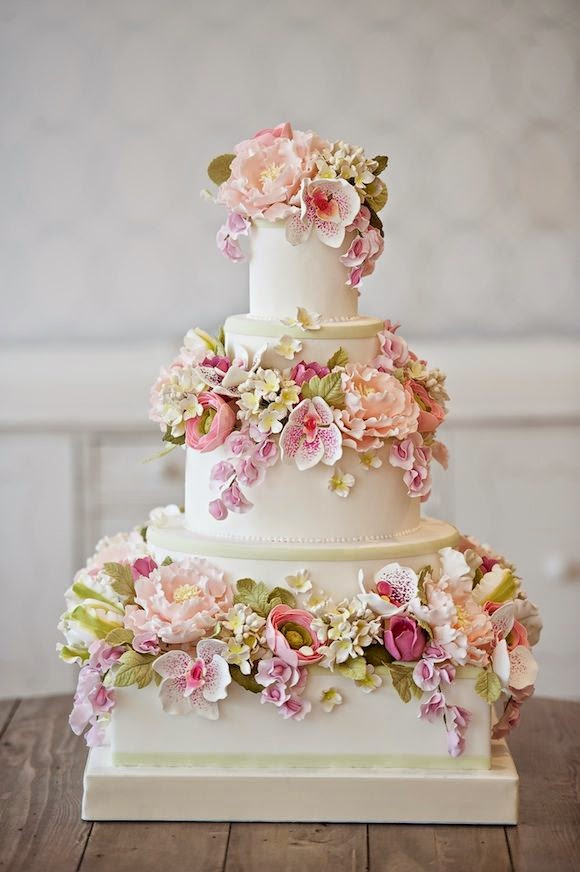 Gumpaste Flowers For Wedding Cakes  Beautiful Bridal Floral Wedding Cakes