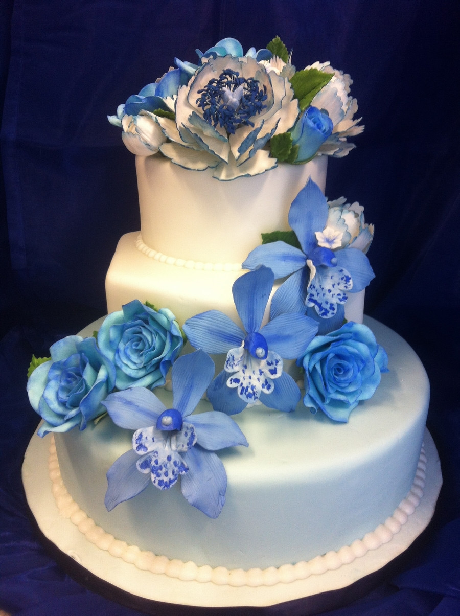 Gumpaste Flowers For Wedding Cakes  Blue Wedding Cake With Gumpaste Flowers CakeCentral
