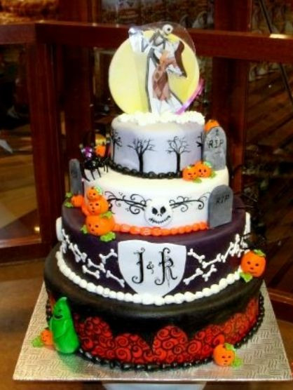 Halloween Themed Wedding Cakes  Four tier Halloween theme wedding cake JPG