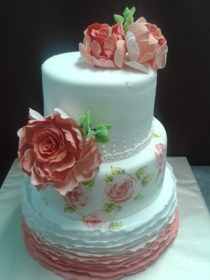 Hand Painted Wedding Cakes  wedding cake with hand painted roses Cake by martina