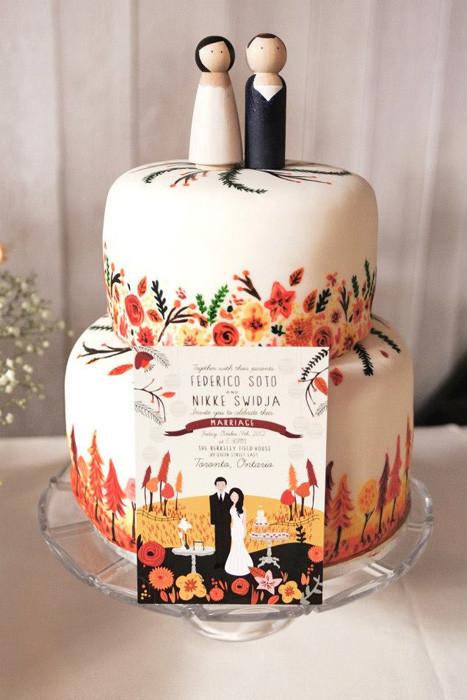 Hand Painted Wedding Cakes  Wedding Trend Hand Painted Wedding Cakes